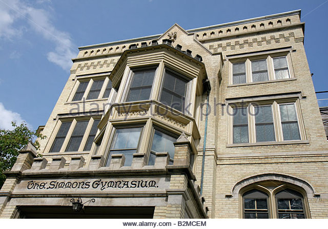 Wisconsin Kenosha Third 3rd Avenue Historic District Kemper Center Simmons Gym building former woman's preparatory - Stock Image