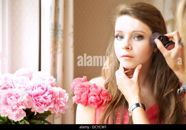 Teenage Girl Having Makeup Applied - Stock Image