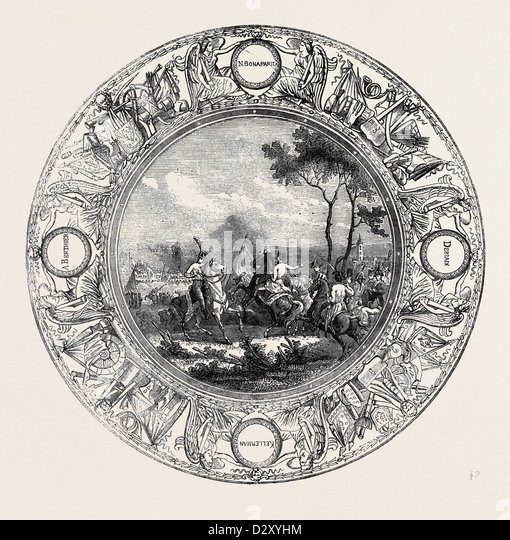 SEVRES PLATE, PAINTED WITH A SCENE FROM THE BATTLE OF MARENGO, FOR THE EMPEROR NAPOLEON I - Stock Image