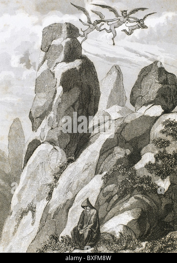 Legend of Fray Juan Garin, hermit of Montserrat. Fray Garin meditating on the mountain of Montserrat. - Stock Image