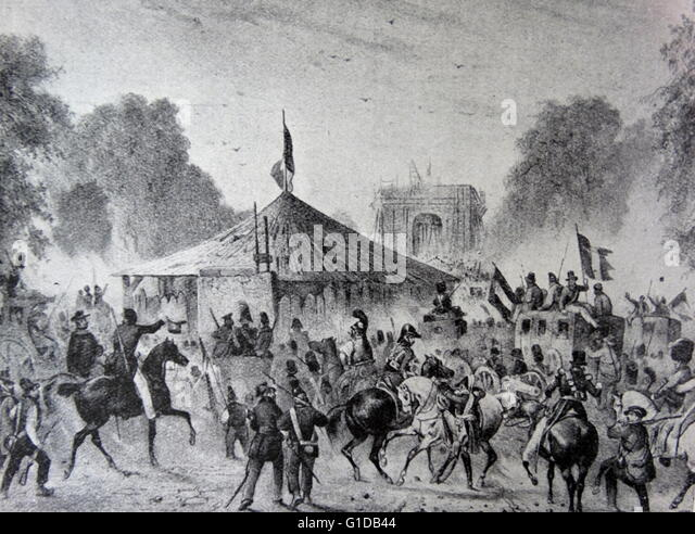 The March of the National Guard to Rambouillet. Charles X abdicated in favour of Henry V after he became tired of - Stock Image