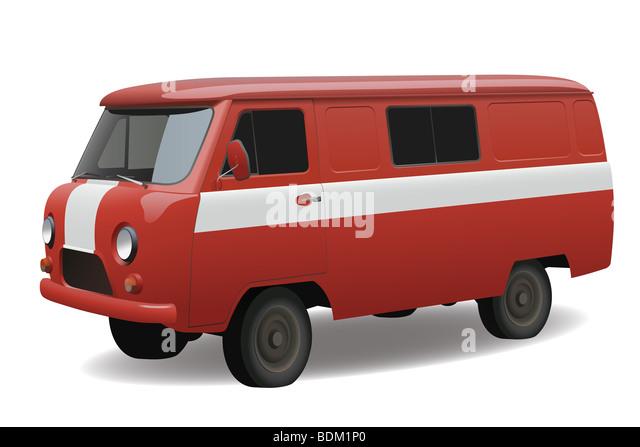 Red classic van, vector - Stock Image