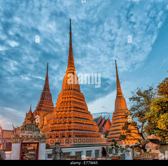 Wat Pho temple, Bangkok, Thailand. The Temple of the Reclining Buddha. - Stock Image