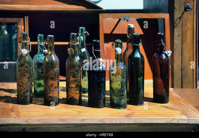 Antique or Vintage Bottles for Sale at an Antique Market or Fair on the Cours Mirabeau Aix-en-Provence Provence - Stock Image