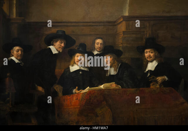 Wardens of the Amsterdam Drapers' Guild, Syndics, by Rembrandt, 1662, oil on canvas, Rijksmuseum, Amsterdam, - Stock Image