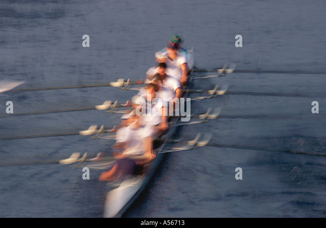 Crew rowing boat - Stock Image