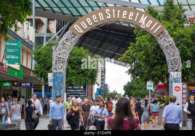 Brisbane Australia Queensland Central Business District CBD Queen Street Mall shopping pedestrian man woman arch - Stock Image