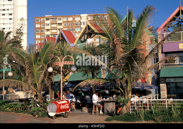 South Africa Durban Restaurants Cafes at The Golden Mile - Stock Image