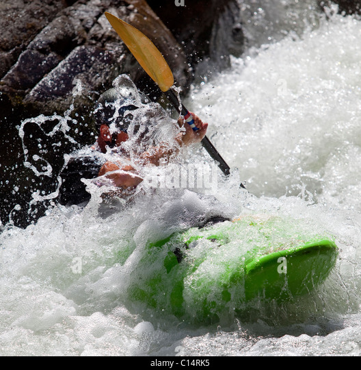 Man kayaks in whitewater rapids on Wilson Creek, NC. - Stock-Bilder