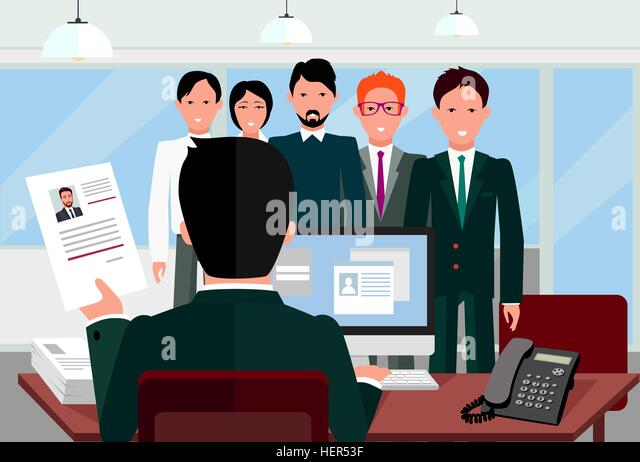 Hiring recruiting interview. Look resume applicant employer. Hands Hold CV profile choose from group of business - Stock-Bilder