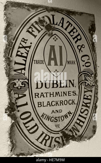 A1 Findlater Old irish Whiskey Metal Sign, Belfast, Northern Ireland,UK - Stock Image