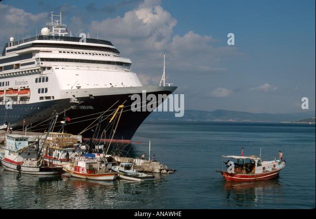 Turkey Aegean Sea Kusadasi fishing boats Holland America Line ms Rotterdam cruise ship - Stock Image
