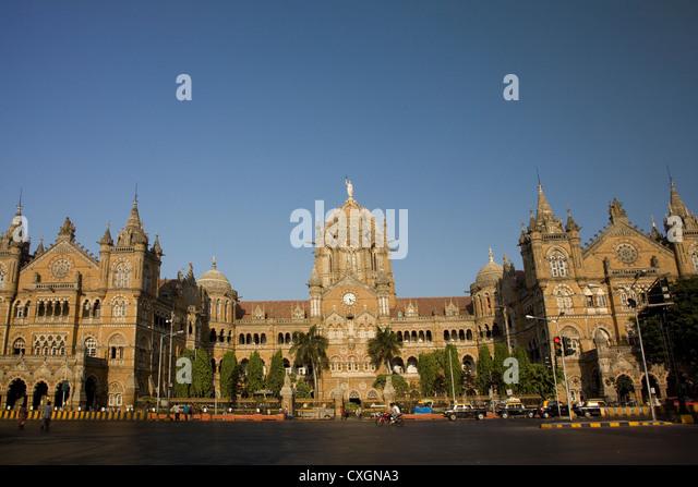 The Chhatrapati Shivaji Terminus which was formally know as Victoria Terminus, Mumbai, India. - Stock Image