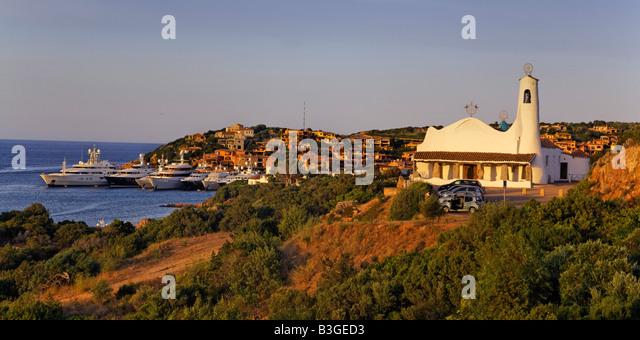 Italy Sardinia Costa Smeralda Porto Cervo Stella Maris church Panorama - Stock Image