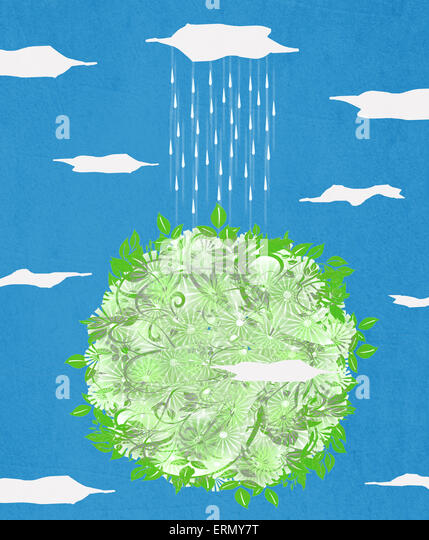 green planet  and rain digital illustration - Stock Image