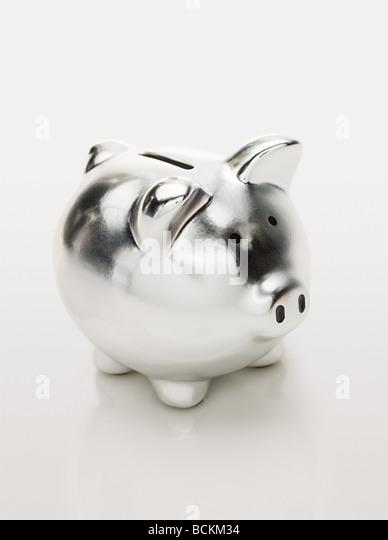 Silver piggy bank - Stock Image