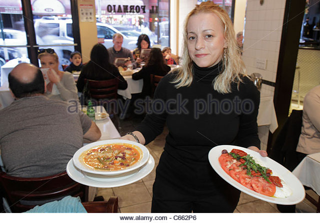 New York New York City NYC Lower Manhattan Little Italy Mulberry Street ethnic neighborhood Il Fornaio Italian restaurant - Stock Image