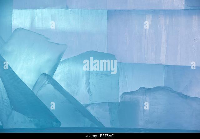 Large ice blocks used for building or sculptures, Jukkasjarvi, Sweden - Stock-Bilder