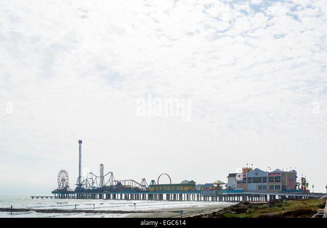 Galveston Island Historic Pleasure Pier, Galveston, Gulf Coast, Texas, USA - Stock Image
