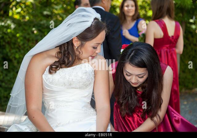 Bridesmaid assisting bride, Ross, California, USA - Stock Image