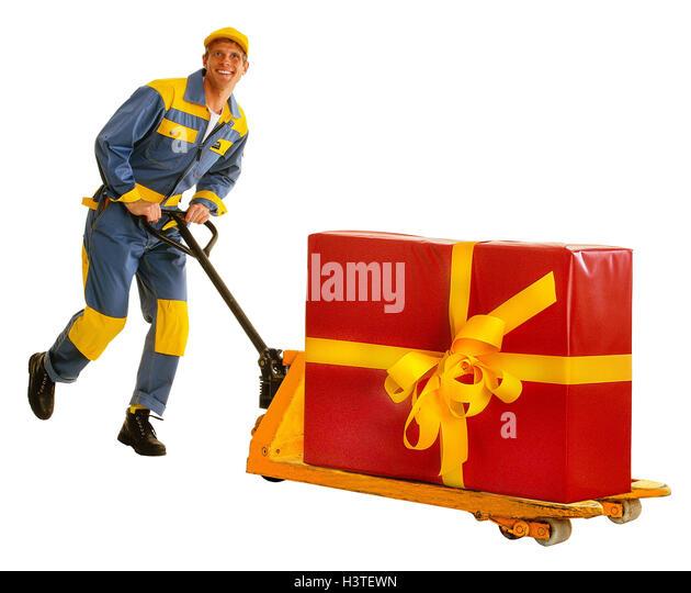 Messenger, elevating platform trucks, present, block, run, professions, man, occupation, parcel deliver, package - Stock Image