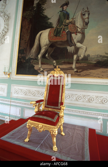 Russia former Soviet Union Peterhoff Petrodvorets Peter the Great Summer Palace Throne Room antiques - Stock Image