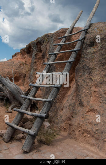 Wooden Ladder on Hike in White Rocks National Monument Wilderness - Stock Image