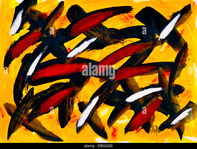 Abstract acrylic painting on paper. - Stock Image