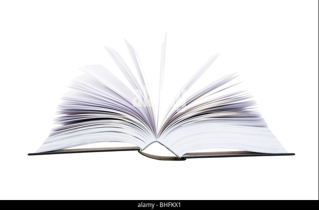 Big open book with pages flipping isolated on white background - Stock Image