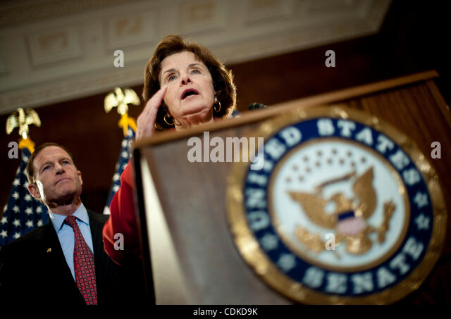 Mar. 16, 2011 - Washington, District of Columbia, U.S. - Senator RICHARD BLUMENTHAL (D-CT) looks on as Senator DIANNE - Stock Image