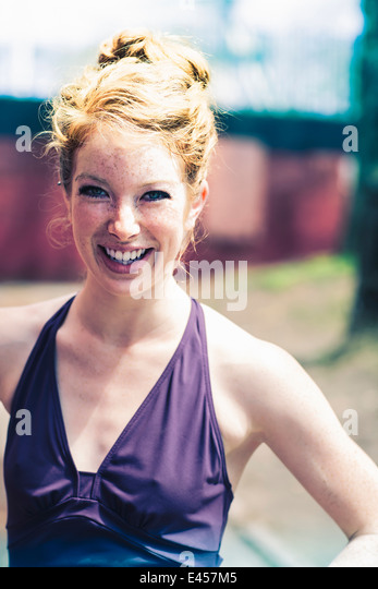 Portrait of a young red haired woman - Stock-Bilder