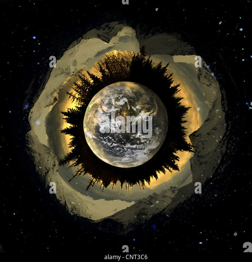 Artistic interpretation of our planet in space created with digital art. - Stock Image