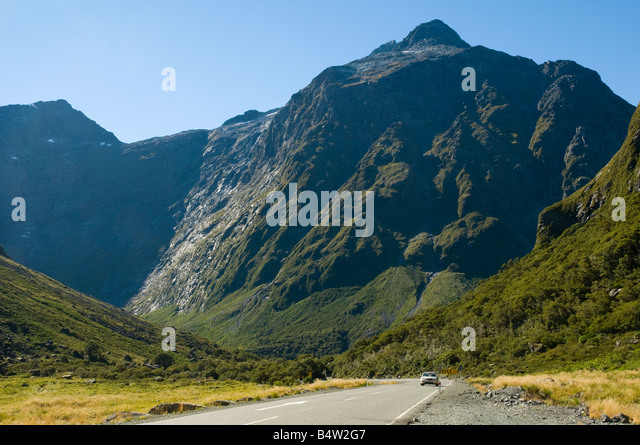 The road to Milford Sound near the Homer Tunnel, Fjordland, South Island, New Zealand - Stock Image