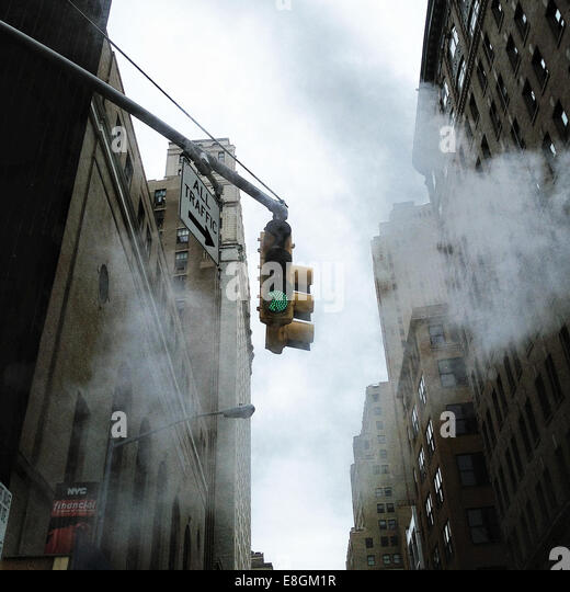 USA, New York, Traffic light - Stock Image