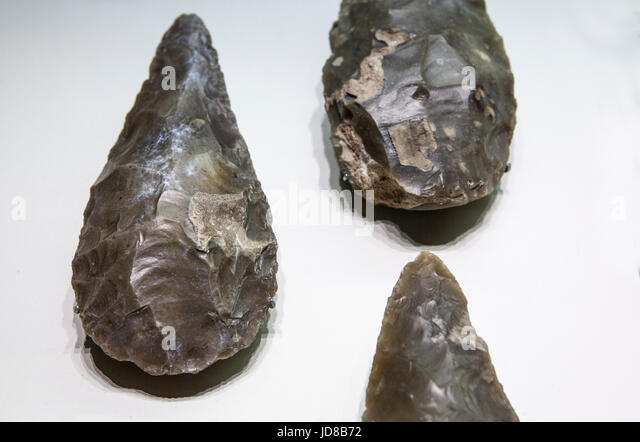 Stone tool. Lower Paleolithic. Lanceolate bifaces - Stock Image