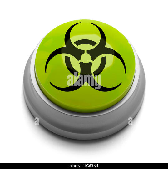 Green and Black Bio Hazard Button Isolated on White Background. - Stock Image