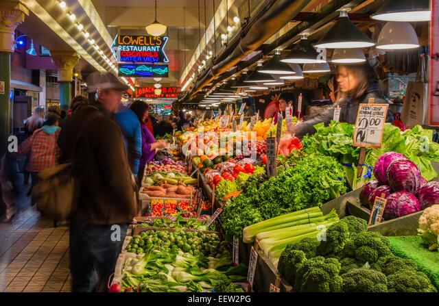 Fruit and vegetable stall at Pike Place Market, Seattle, Washington, USA - Stock Image
