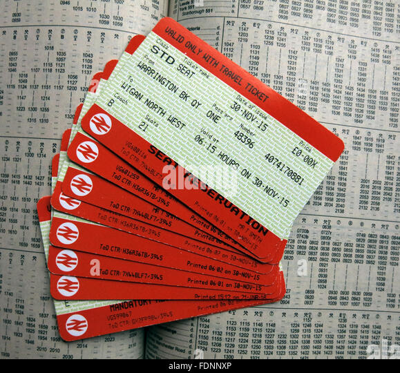 British Rail Tickets on a timetable,England,UK - Stock Image