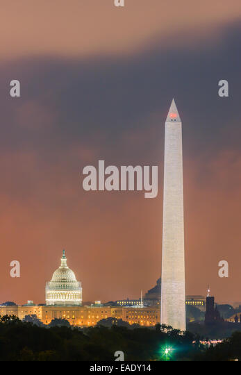 Washington Monument and Capitol in Washington DC. - Stock Image