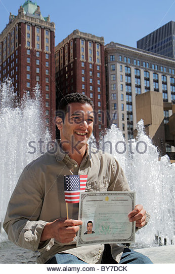 Maryland Baltimore Hopkins Plaza G. H. Fallon Federal Building government urban space fountain Moroccan man new - Stock Image