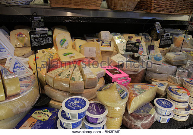 Miami Coconut Grove Florida The Fresh Market chain retail gourmet supermarket specialty grocer shopping dairy imported - Stock Image