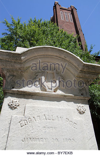 Maryland Baltimore Westminster Presbyterian Church Edgar Allan Poe American poet literature grave graveyard gravesite - Stock Image