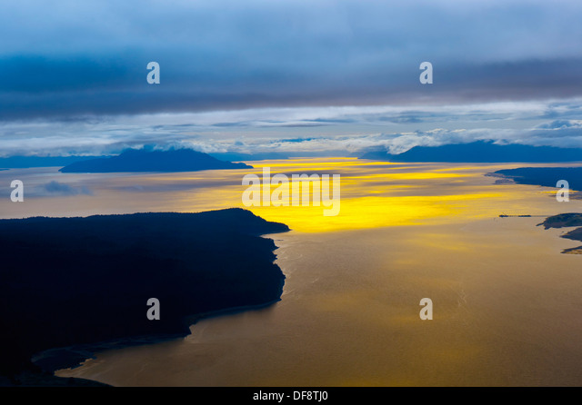 Flying between Gustavus and Juneau, southeast Alaska USA - Stock Image