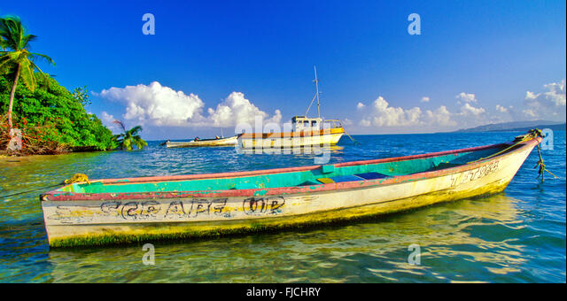 Colorful fishing boats off Pigeon Point, Caribbean Sea,Trinidad-Tobago, True Caribbean - Stock Image