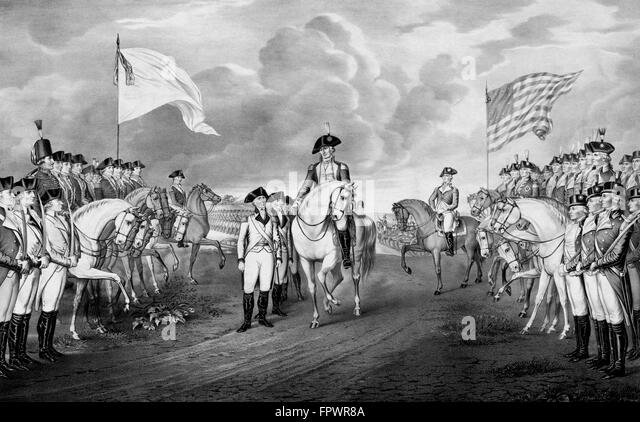 Vintage Revolutionary War print showing the surrender of British troops, to General George Washington and the Continental - Stock Image