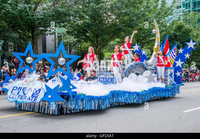 Hyack float, Canada Day Parade, downtown Vancouver, British Columbia, Canada - Stock Image
