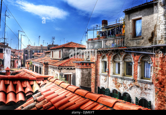 view of the roofs of San Polo sestiere in Venice, Italy - Stock Image