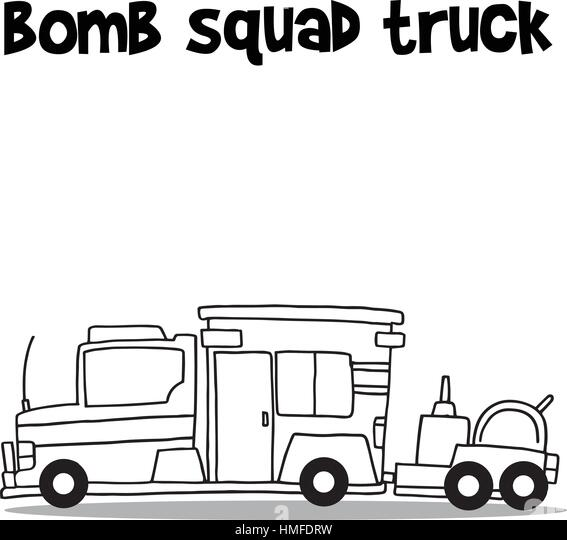 Hand draw of bomb squad truck - Stock Image