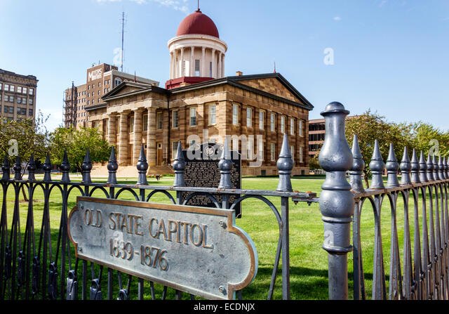 Illinois Springfield downtown historic buildings Old State Capitol Plaza building - Stock Image
