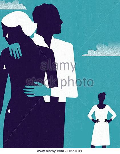 Woman watching man comforting crying woman - Stock Image
